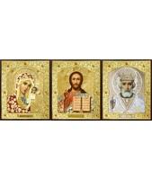 Икона Тройник, лик Софрино цветная одежда, лик 30х12, арт. 24-Г-4 31х13 см деревянный прямой киот на подставке, лик 30х12 Софрино цветная одежда, оклад (риза) золото.