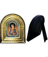 Икона Ангела Хранителя 32-ПЛ-4 15,5х17,5 см пластмассовый киот, лик 10х12 Софрино узор, оклад (риза) золото.