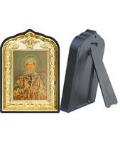 Икона Матрона Московская 14-ПЛ-5 10х14 см пластмасовый киот, лик 6х9 Софрино желтая одежда, оклад (риза) золото