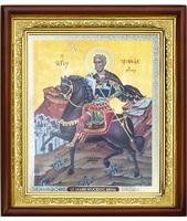 Икона Sf.Mare Mucenic Mina (Мина) 23-П-83 25х29 см деревянный прямой киот, лик 20х24, оклад (риза) золото