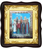 Икона Святые жены мироносицы 5-ФТ-174 24х27 см, деревянный фигурный тёмный киот, лик 15х18, оклад (риза) золото
