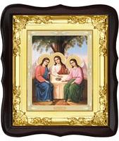 Икона Святой Троицы 5-ФТ-183 24х27 см деревянный фигурный темный киот,  лик 15х18, оклад (риза) золото