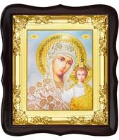 Икона Божьей Матери Казанской 5-ФТ-195 26х29 см деревянный фигурный тёмный киот, лик 15х18, оклад (риза) золото