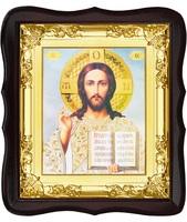 Икона Иисус Христос 5-ФТ-196 26х29 см деревянный фигурный тёмный киот, лик 15х18, оклад (риза) золото