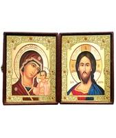Кожаный складень не вынимающийся лик 15х18 Софрино византия К-21-5 с золотым окладом, замочком и вышитым крестиком по средине, 36х19х6 см
