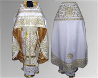 Облачение русский крой белое Иерейское льен парча габардин