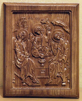 Икона прямоугольной формы из натурального дерева Святая Троица под деревянный интерьер