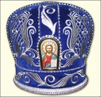 Синяя митра без креста образ в арке