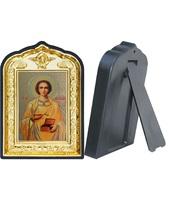 Икона Пантелеймон целитель 14-ПЛ-6 10х14 см пластмасовый киот, лик 6х9 Софрино желтая одежда, оклад (риза) золото