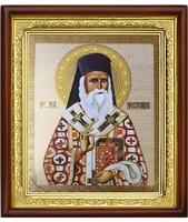 Икона Sf. ier. Nectarie (Нектарий) 23-П-84 25х29 см деревянный прямой киот, лик 20х24, оклад (риза) золото