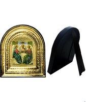 Икона Святой Троицы 32-ПЛ-60 15,5х17,5 см пластмассовый киот,  лик 10х12 Софрино цветная одежда, оклад (риза) золото