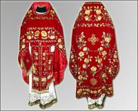 Вышивка облачение красное иерейское льен парча габардин