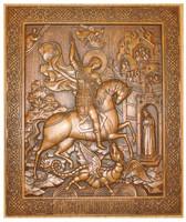 Святой великомученик Георгий Победоносец - Резная деревянная икона