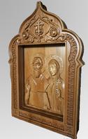 Киприан и Иустиния - Резная деревянная икона