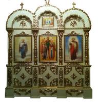 Напольный киот на три иконы МДФ с металлизацией
