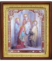 Икона Сретение Господне 23-П-71 ( Двунадесятые праздники ) 25х29 см деревянный прямой киот, лик 20х24, оклад (риза) золото