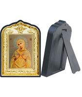 Икона Семистрельной Божией Матери 14-ПЛ-7 10х14 см пластмасовый киот, лик 6х9 Софрино желтая одежда, оклад (риза) золото