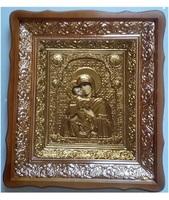 Икона Владимирская Божья Матерь 4538-Р-7 45х38 см, деревянный фигурный киот, в ризе