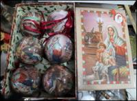 Шарики на елку Рождественские мотивы нежно розовый 6 штук