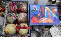 Шарики на елку Рождественские мотивы синий 6 штук