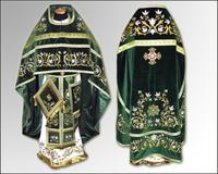 Темно-зеленое облачение Иерейское вышивка парча габардин