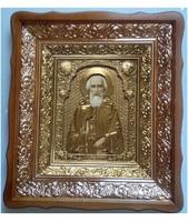 Икона Сергий Радонежский 4538-Р-8 45х38 см, деревянный фигурный киот, в ризе