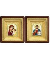 Венчальная пара Икона Спасителя и Казанской Божьей Матери 19-ВП-8 21х24 см деревянный прямой глубокий киот, лик 10х12 Тропарь, оклад (риза) золото