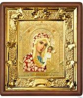 Икона Казанской Божьей Матери 31-П-9 24х27 см деревянный прямой киот, лик 15х18 Софрино цветная одежда, оклад (риза) золото