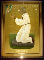 Икона Храмовая полуростовая Серафим Сар  на камне