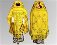 Вышивка облачение желтое Иерейское парча габардин