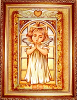 Янтарная икона Ангел хранитель (16)