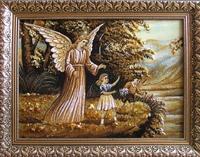 Янтарная икона Ангел хранитель (18)