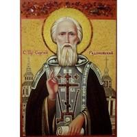 Икона из янтаря Святой Сергий Радонежский