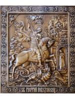 Резная икона Святой Георгий Победоносец рост