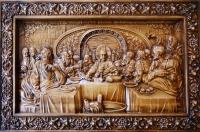 Резная икона Тайная Вечеря рама виноградная лоза