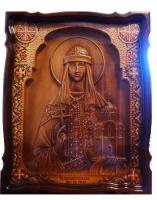 Резная икона Святая Равноапостольная княгиня Ольга полурост
