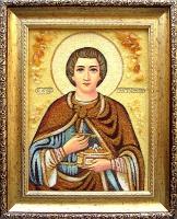 Янтарная икона Пантелеймон 3