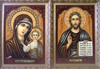 Янтарная икона Пара. Казанская и Спаситель (20)