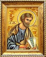 Янтарная икона Петр 1