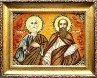 Янтарная икона Петр и Павел