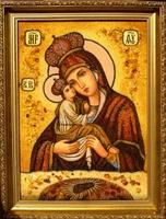 Янтарная икона Почаевская (1)