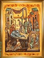 Янтарная икона Рождество (23)