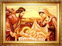 Янтарная икона Рождество (5)