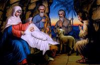 Печатная икона Иисус в яслях