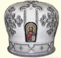Белая митра без креста с вышивка кресты