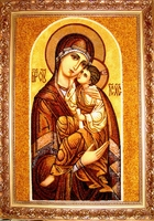 Янтарная икона Владимирская (13)
