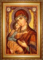 Янтарная икона Владимирская 14