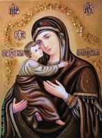 Янтарная икона Владимирская (7)