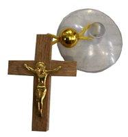 Крест в авто с железным золотым распятием на присоске КР-А