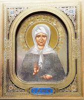 Икона 3-Д Матрона Московская 28-3д-П-5 10х12х0.8 см, лик 3d 10х12 Софрино узор, на подставке